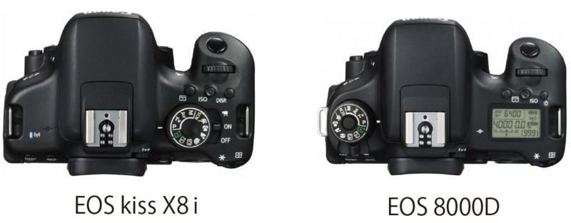 EOS kissX8iとEOS 8000D 操作ダイアル 比較