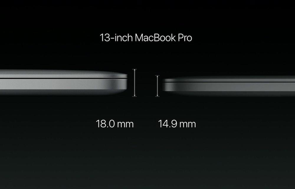 13インチ MacBook Pro 2016の本体の厚み