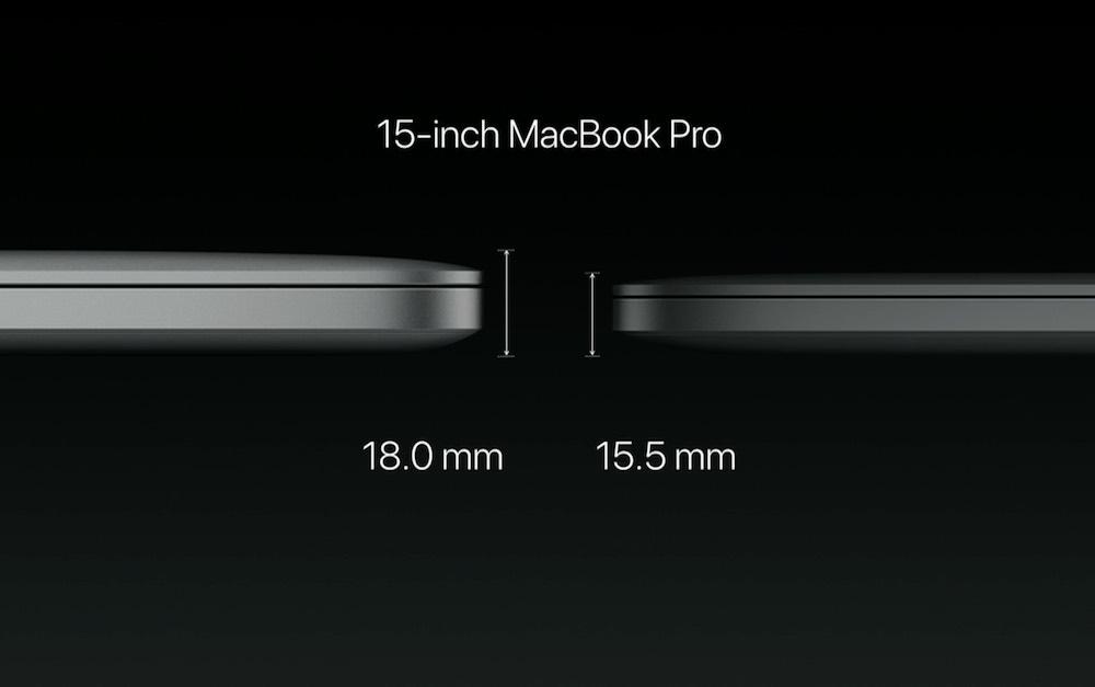 15インチ MacBook Pro 2016の本体の厚み