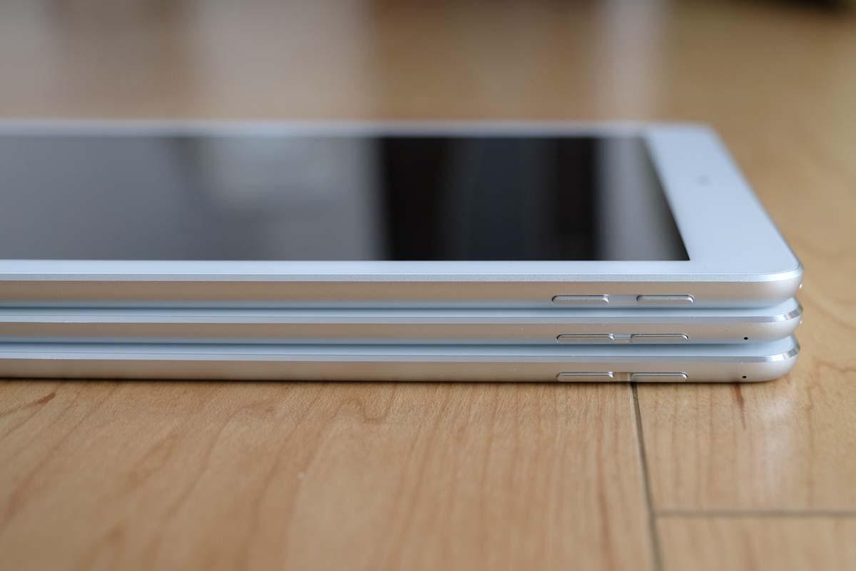 iPad(第5世代)、iPad Pro、iPad Air 2 比較2