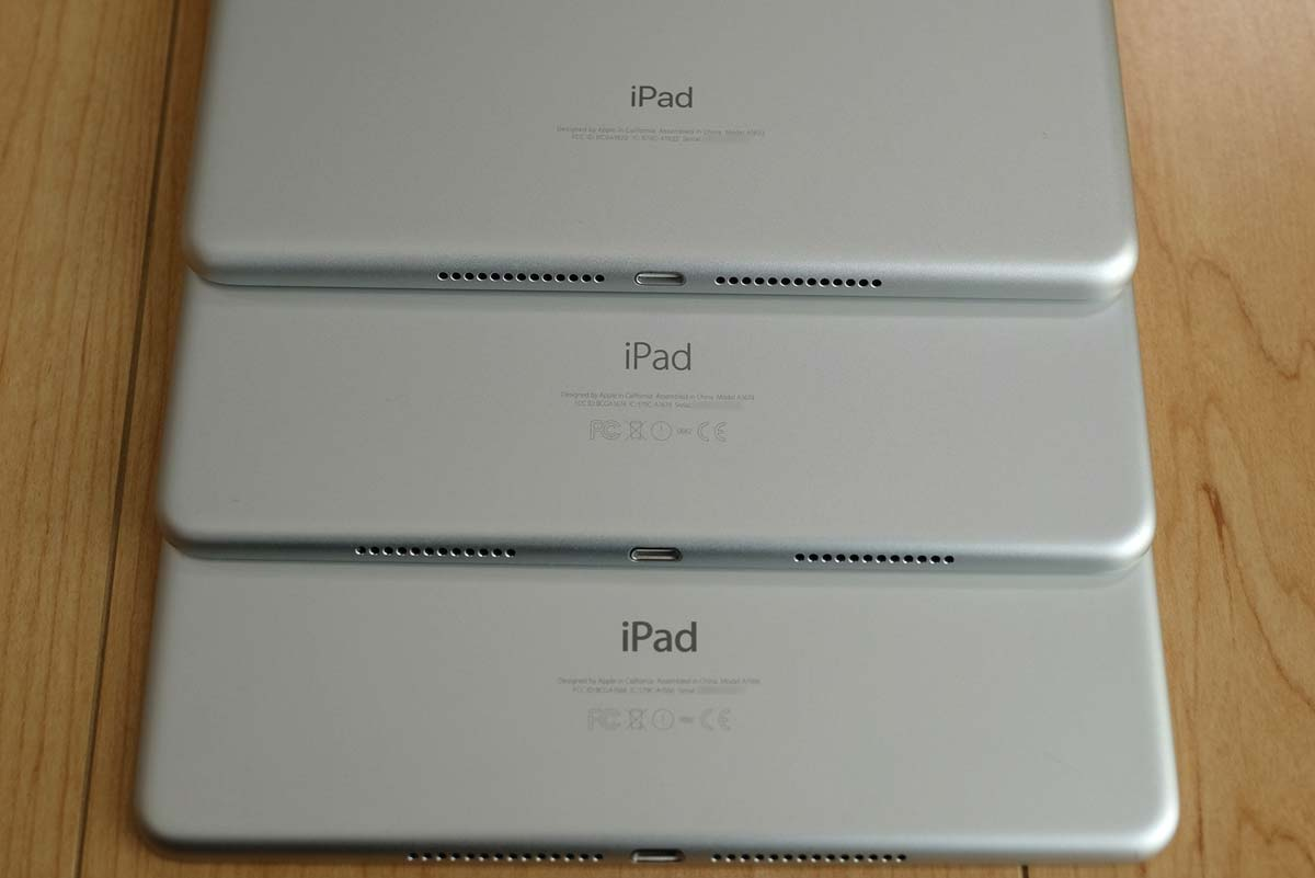 iPad(第5世代)、iPad Pro、iPad Air 2 比較 ロゴ書体