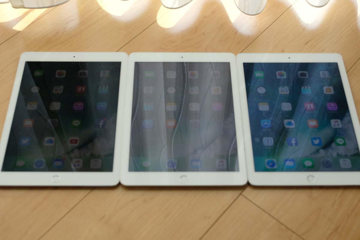 iPad Pro、iPad 第5世代、iPad Air 2の画面反射 比較