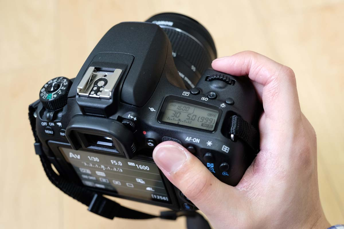 EOS 9000Dを手で持つ
