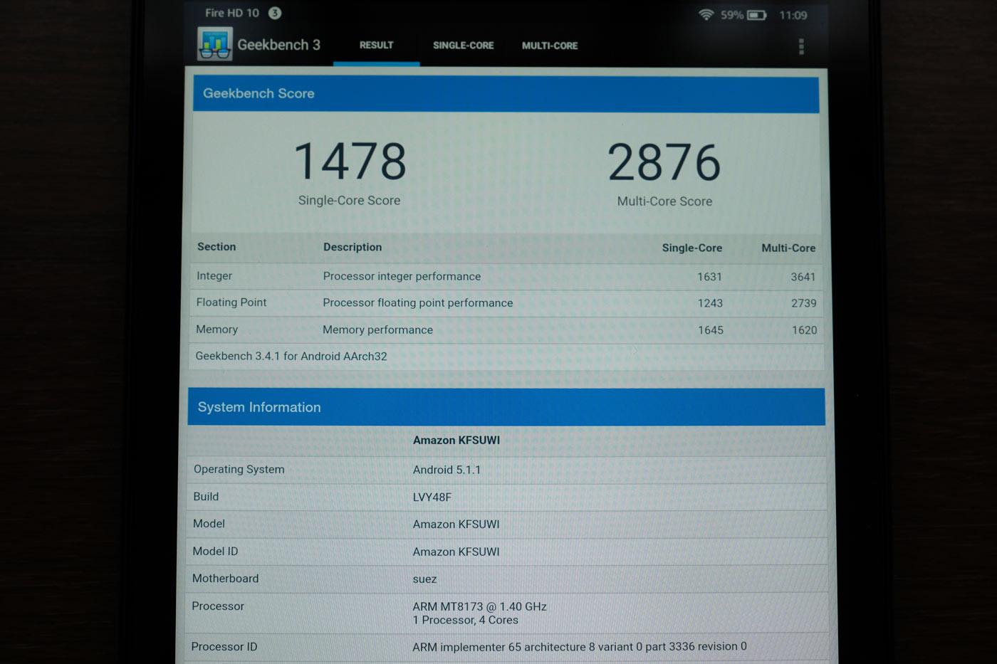 Fire HD 10 CPUの性能