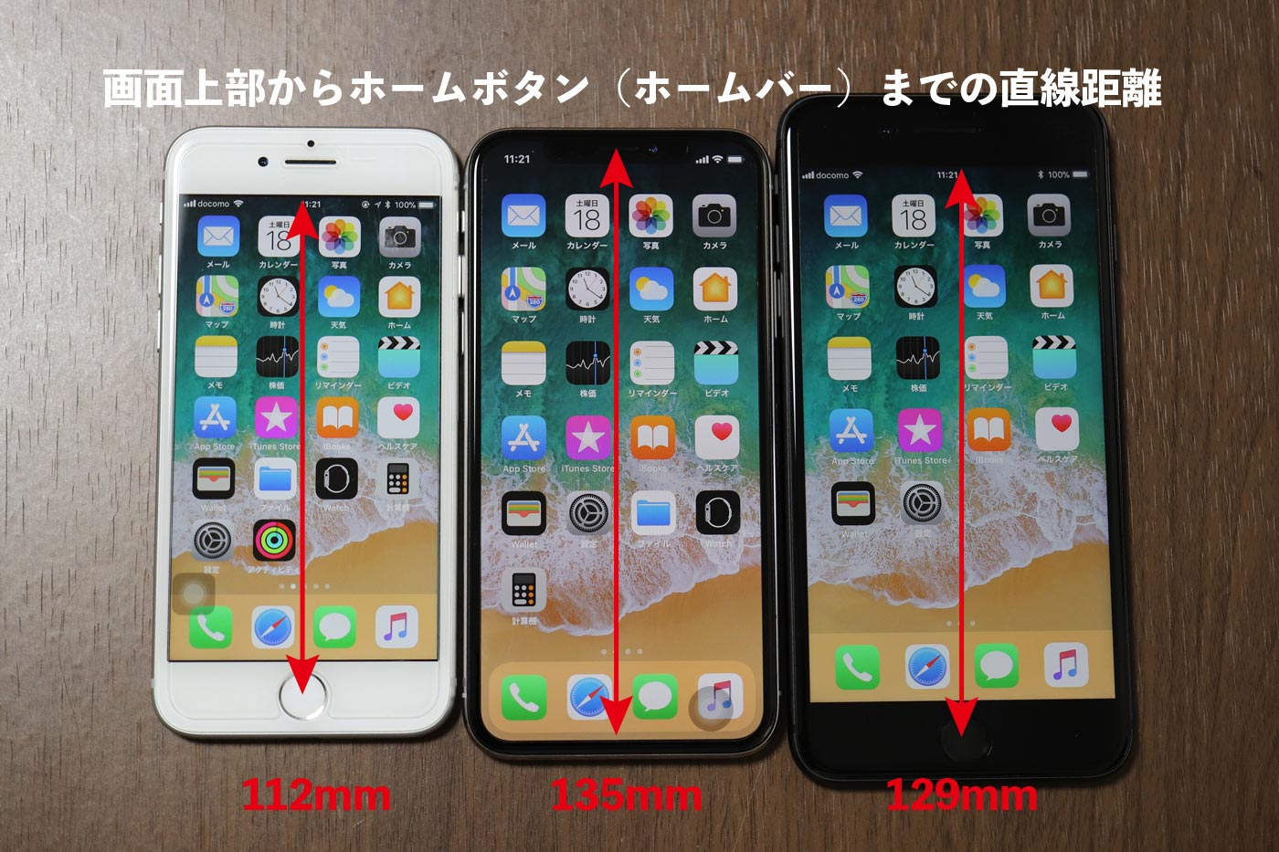 iPhone8 vs iPhoneX vs iPhone8 Plus 画面の長さ