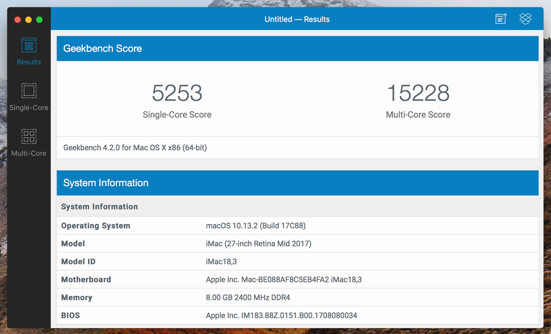 iMac 5K Core i5-7600K CPU性能
