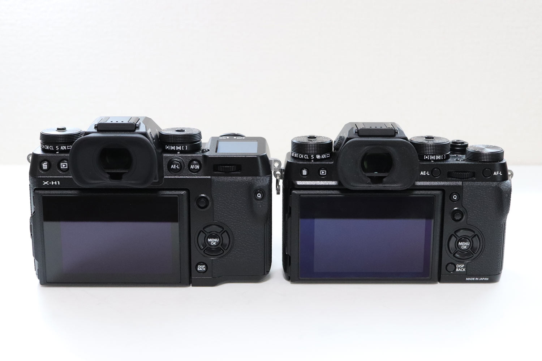 X-H1・X-T2 背面部分の比較