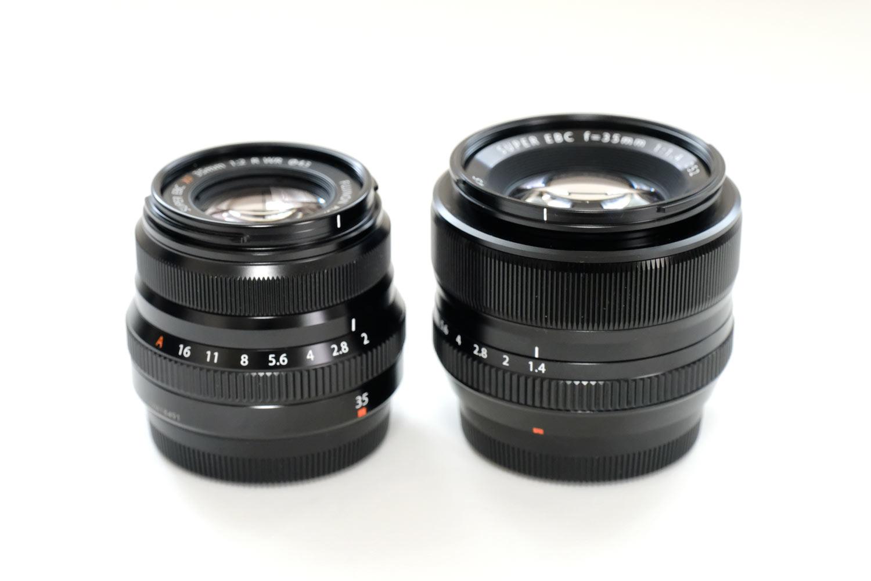 XF35mmF2 R WRとXF35mmF1.4 R レンズ デザイン比較