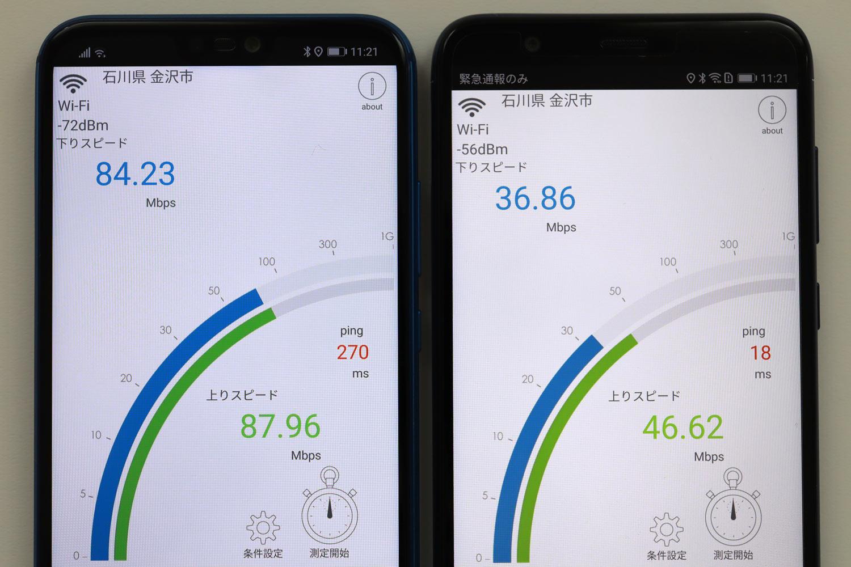Wi-Fi通信速度比較