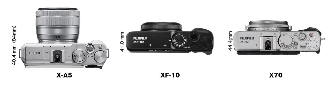 X-A5・XF10・X70 本体の薄さ