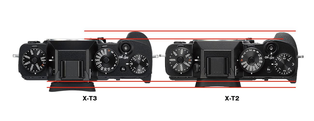 X-T3とX-T2のグリップ形状の違い