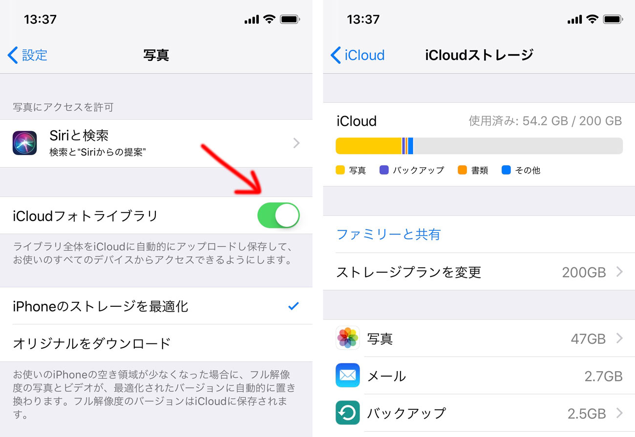 iCloudフォトライブラリをONにする