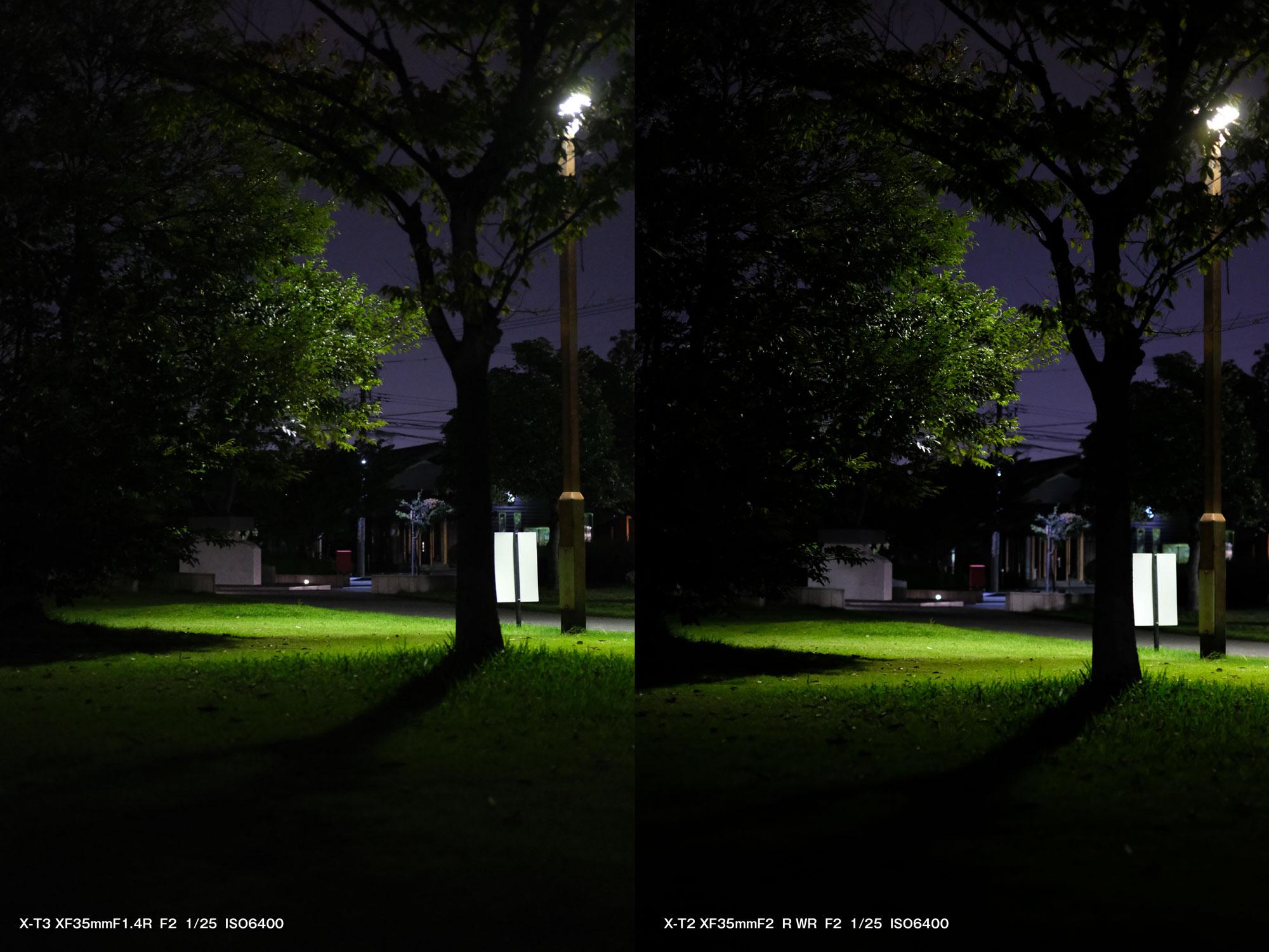 X-T3とX-T2 暗所撮影を比較