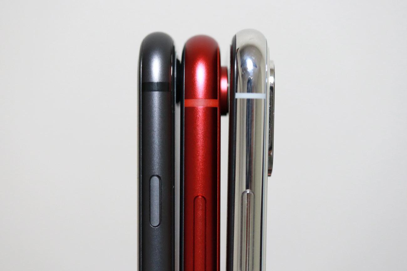 iPhone XRとiPhone XSの本体の薄さ