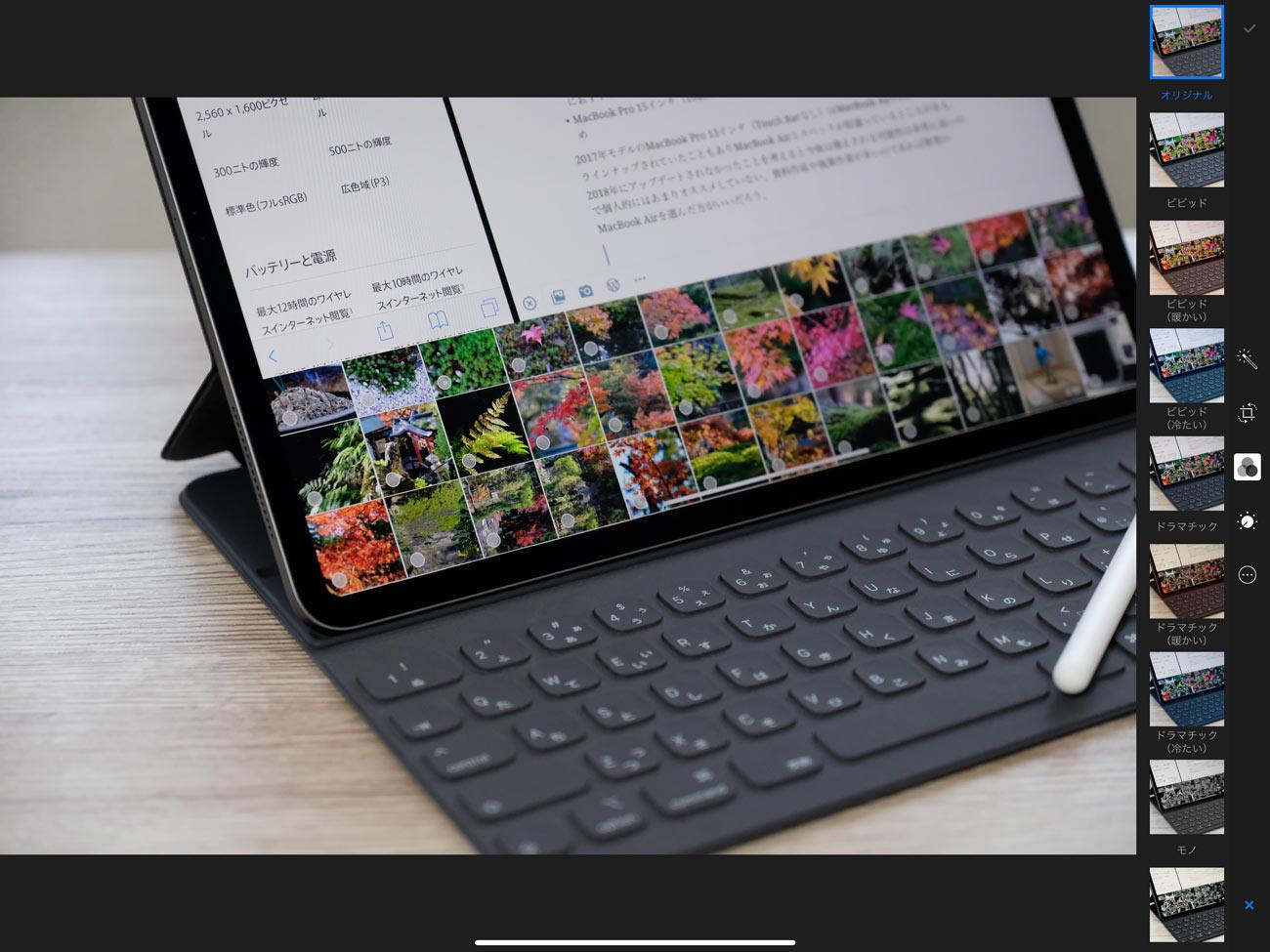 iPadの写真アプリでトリミングと色調整をする