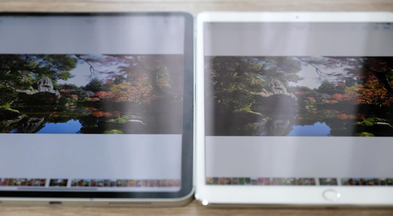 iPad Pro 11とiPad Pro 10.5 光反射の違い