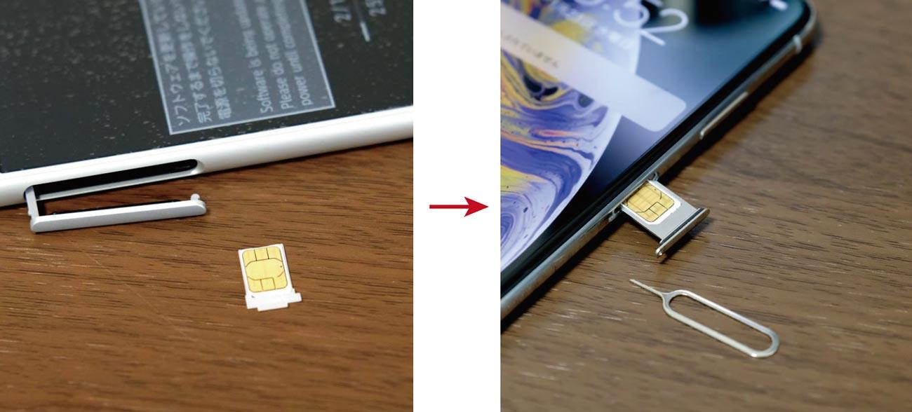 docomo with端末からiPhoneにSIMカードを入れ替え