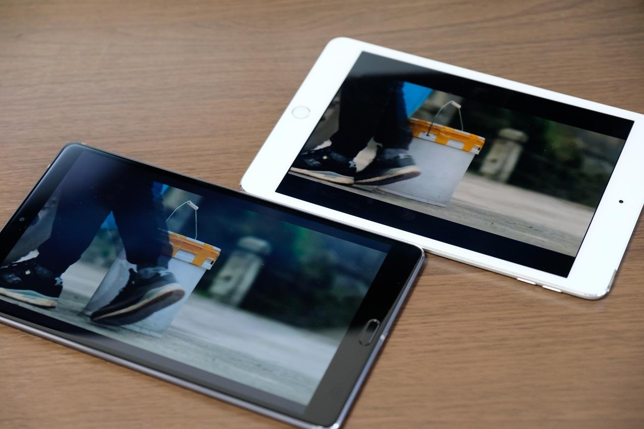 MediaPad M5とiPad mini 4 動画再生時の画面サイズの違い