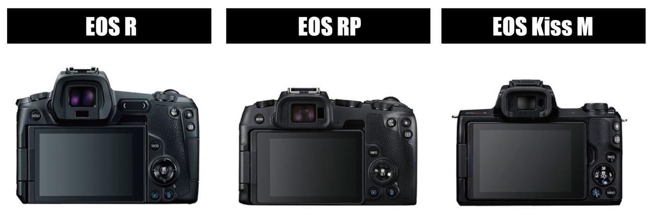 EOS R、EOS RP、EOS Kiss M 背面デザイン比較
