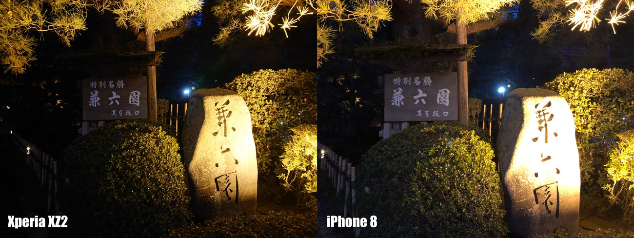 Xperia XZ2とiPhone 8 HDRの性能