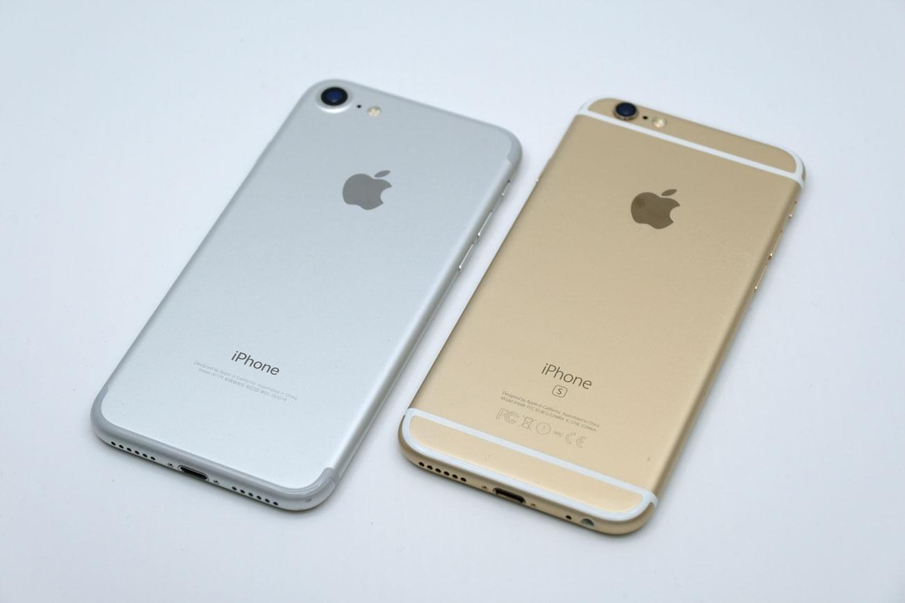 iPhone 7と6s 背面パネルのデザインを比較