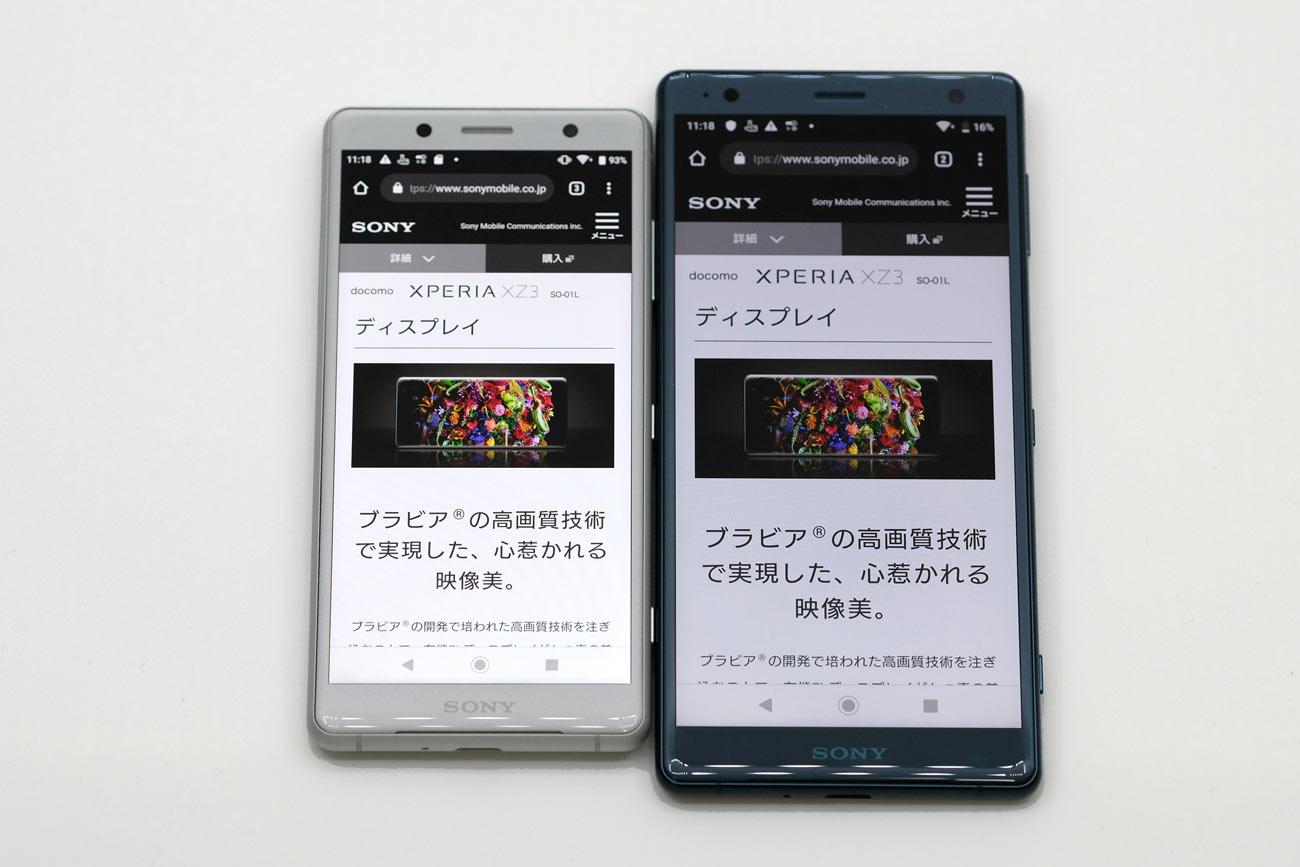 Xperia XZ2 CompactとXperia XZ2 画面サイズと解像度