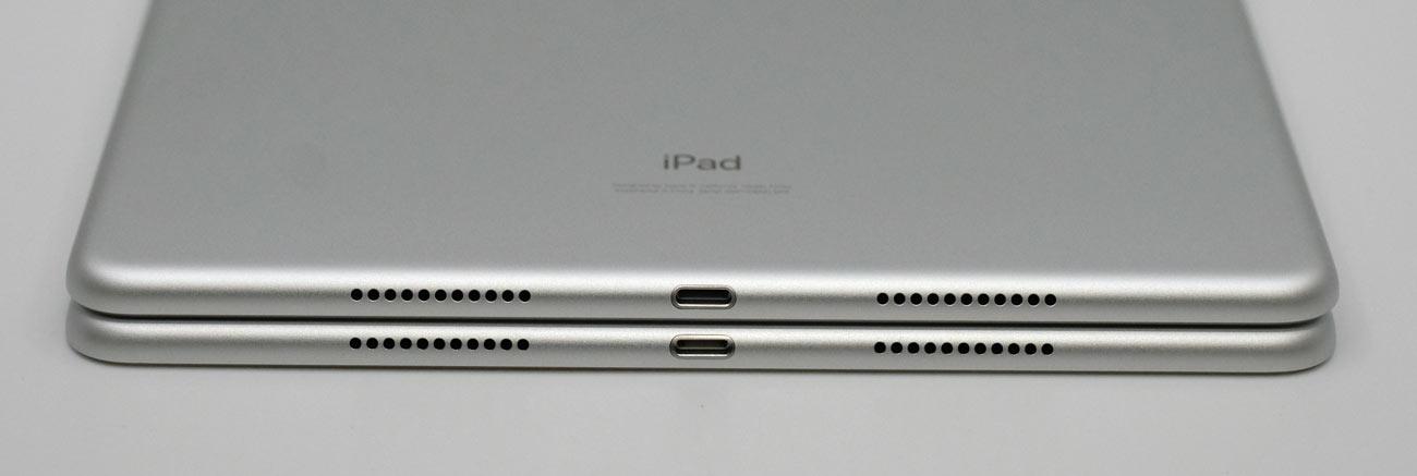 iPad Air 10.5とiPad Pro 10.5 本体下部の比較