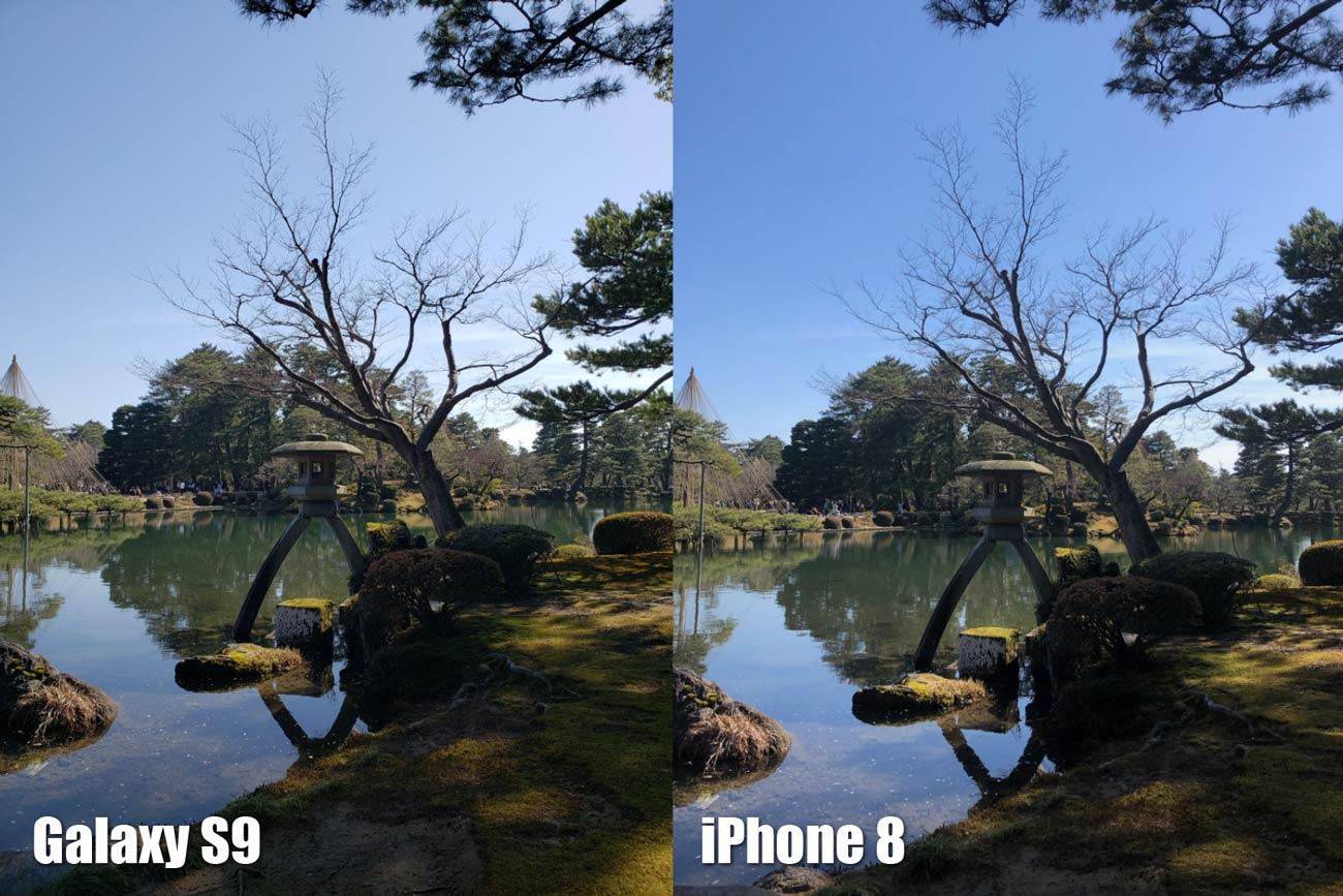 Galaxy S9とiPhone 8 リアカメラの画質比較(兼六園)