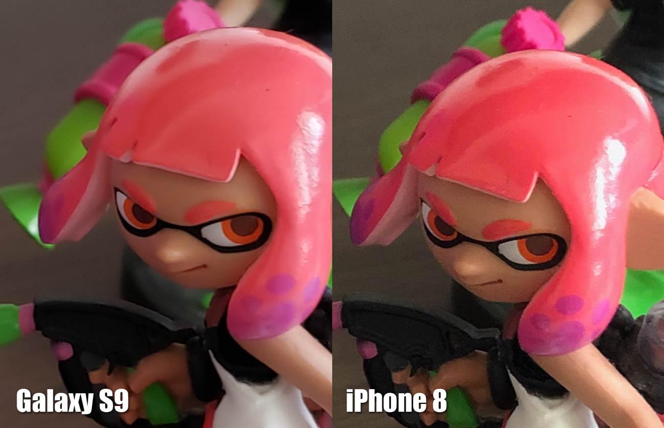 Galaxy S9とiPhone 8 リアカメラの画質比較(アミーボ 拡大)