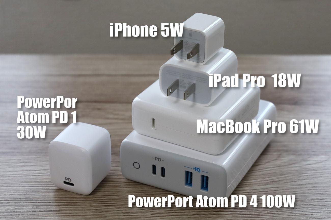 Anker PowerPort Atom PD 4と他の充電アダプタの大きさ比較