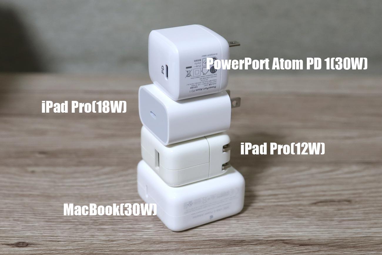 PowerPort Atom PD 1とその他の充電器の大きさ比較