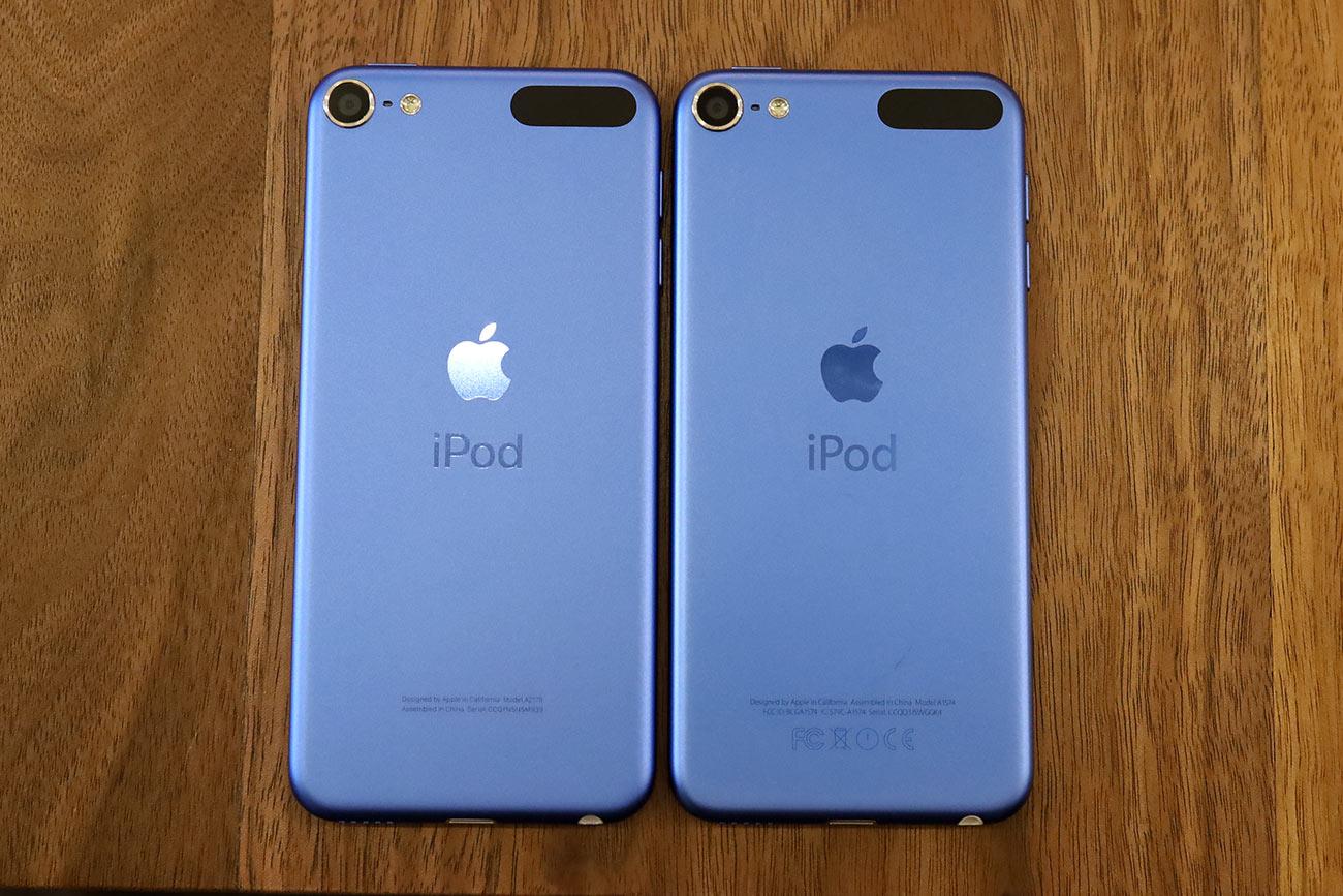 iPod touch(第7世代)背面パネルのデザイン比較
