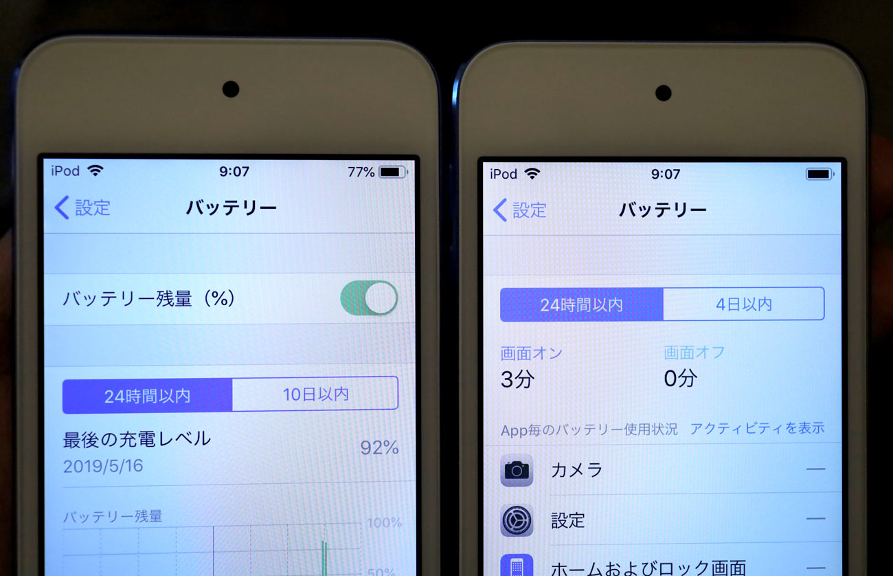 iPod touch(第7世代)バッテリー残量表示