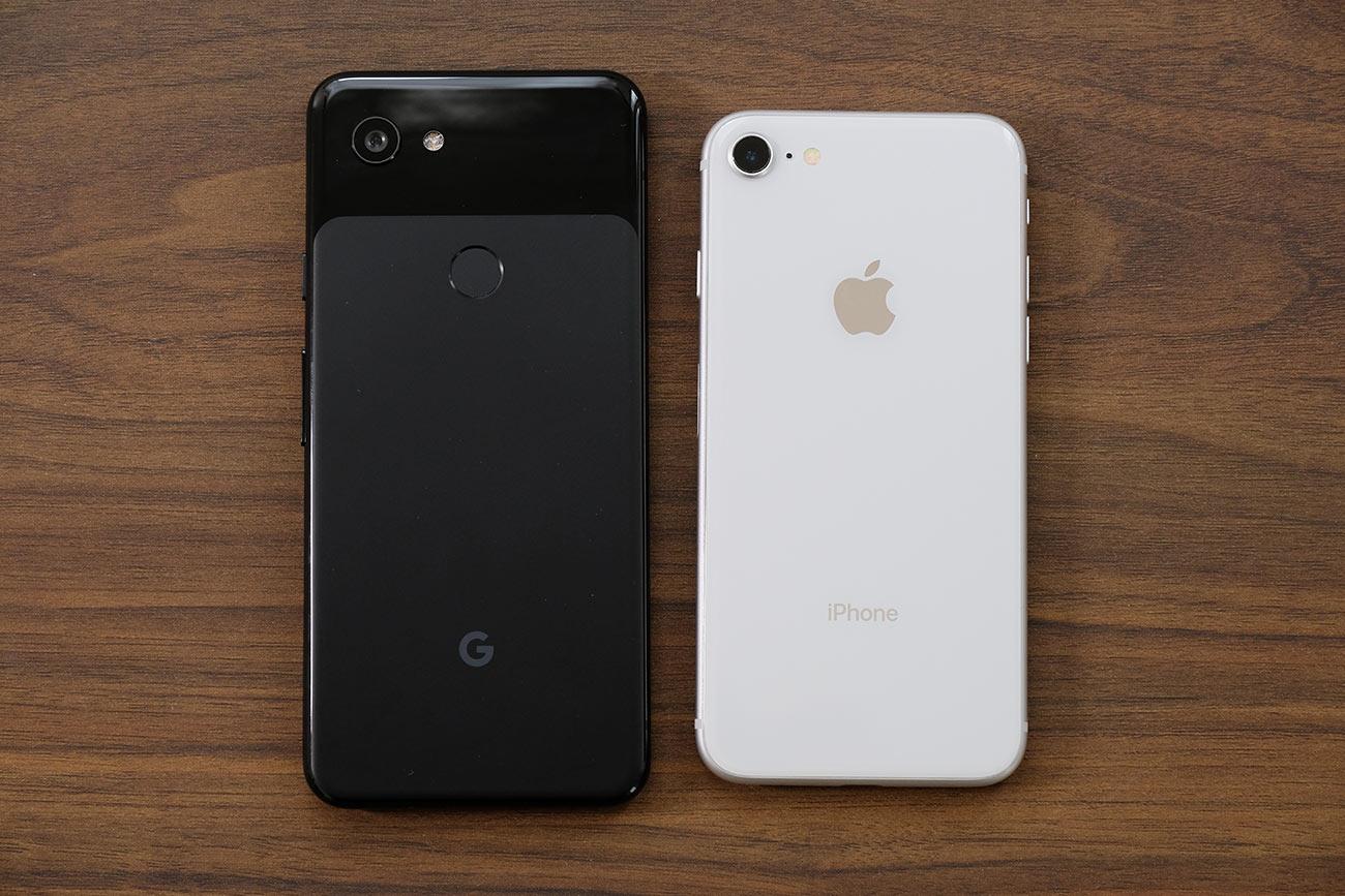 Pixel 3aとiPhone 8 大きさの違い