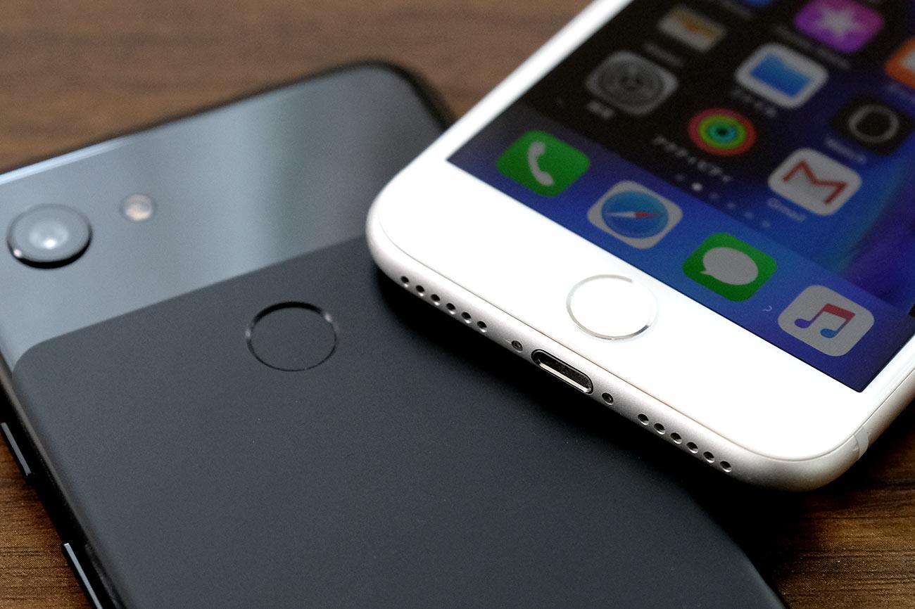 Pixel 3aとiPhone 8の指紋認証センサー