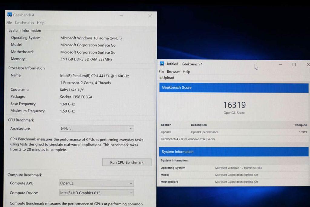 Pentium Gold4415Y GPUの性能
