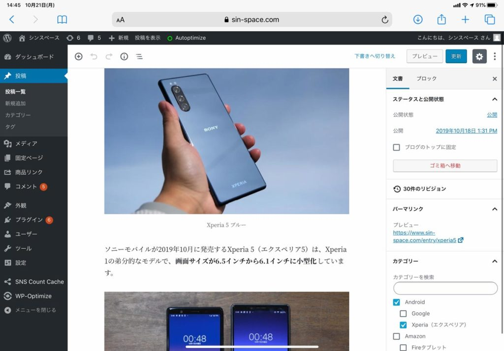 iPadOSでWordPress
