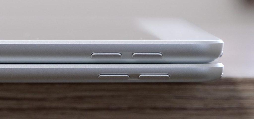 iPad AirとiPadの本体厚み