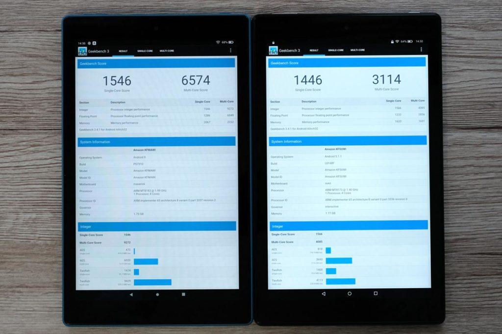 Fire HD 10 2019 vs 2017 CPUの性能を比較