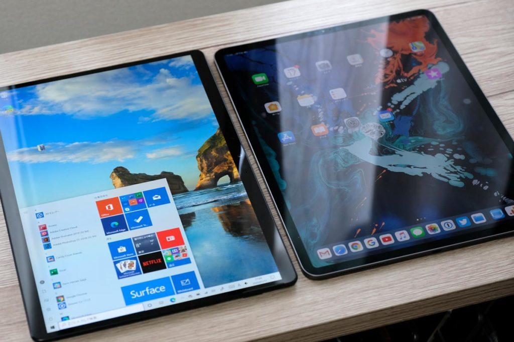 iPad Pro 12.9インチとSurface Pro X 画面の違い