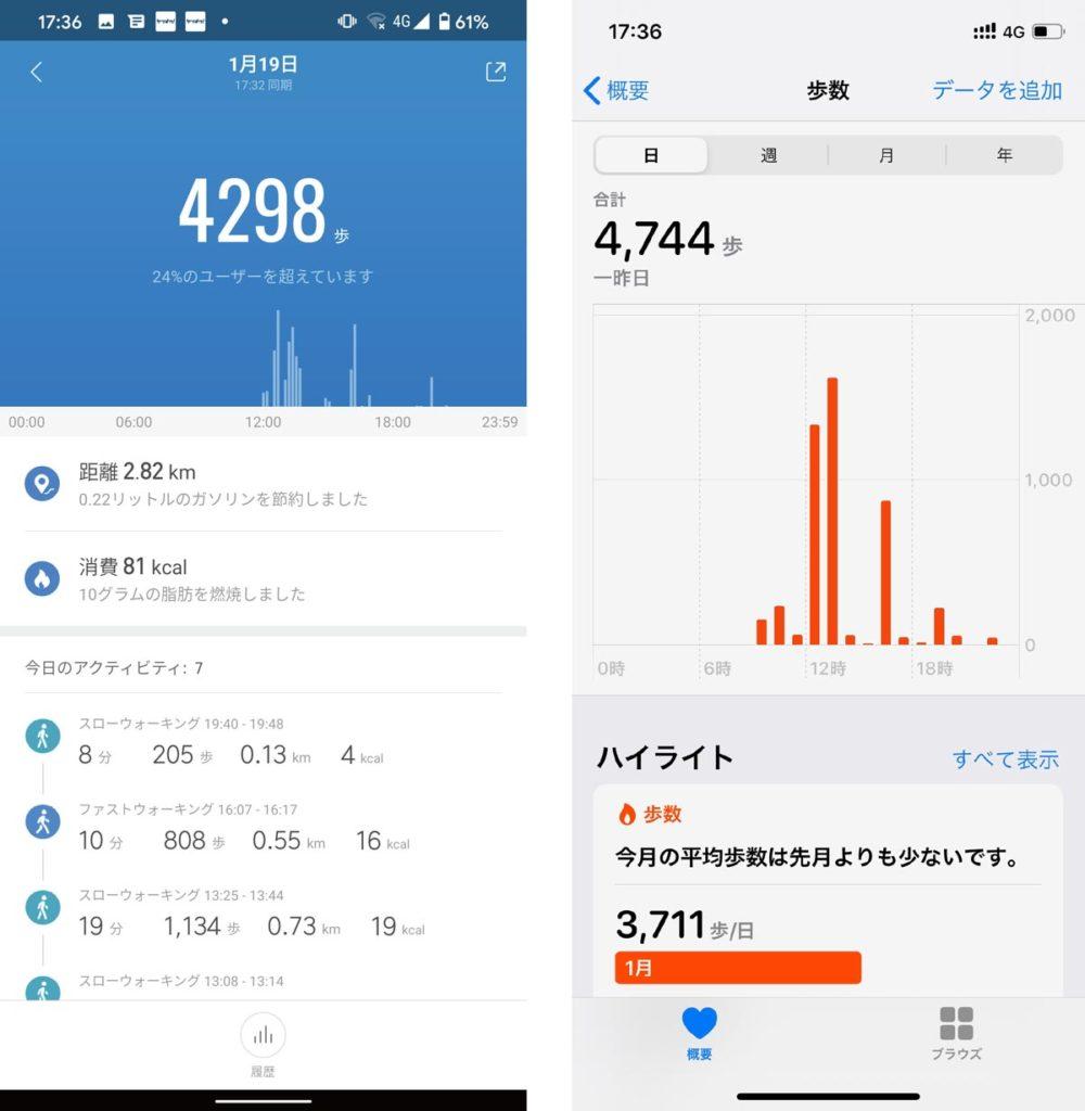 Mi Band 4・Apple Watch 歩数