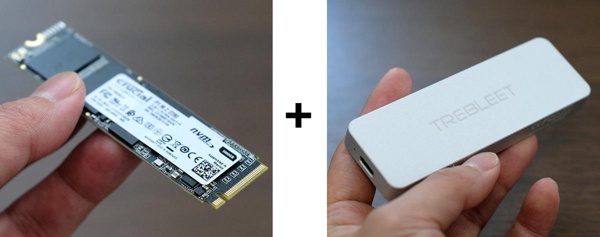 M.2 SSDと専用ケースを組み合わせる
