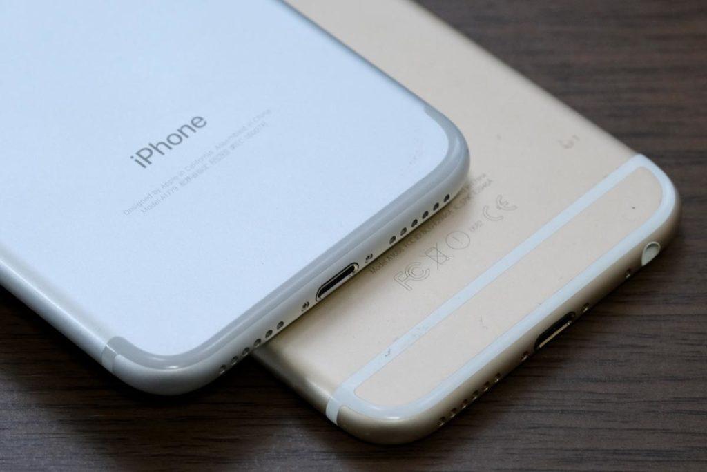 iPhone 7と6s 下部のアンテナラインの違い
