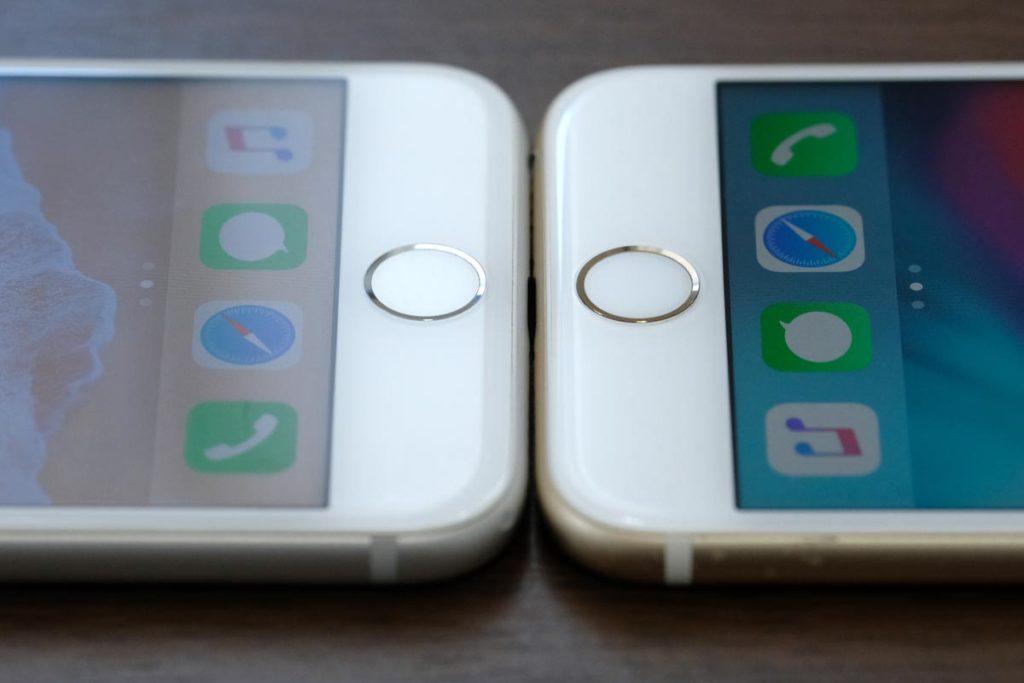 iPhone 7とiPhone 6sのホームボタン