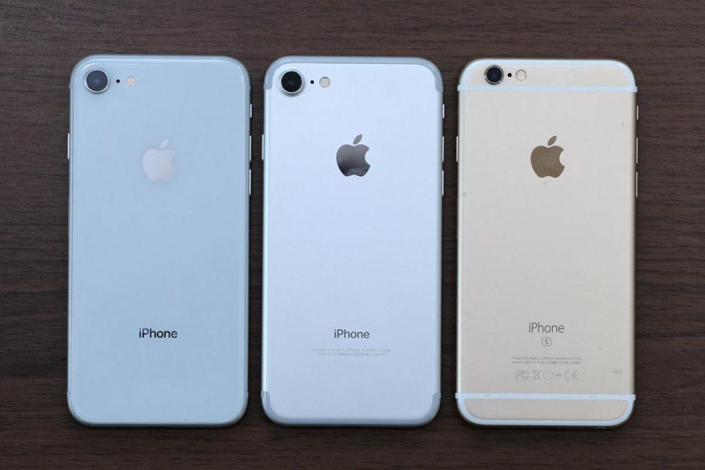iPhone 8、iPhone 7、iPhone 6sの外観比較