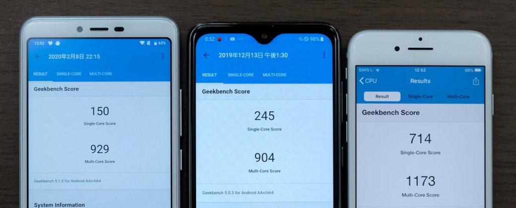 Libero S10・Galaxy A20・iPhone 7 CPU性能