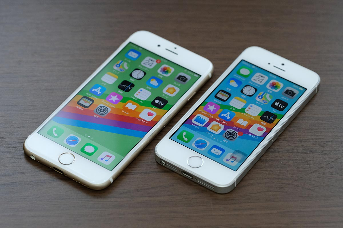 iPhone 6sとiPhone SEの正面を比較