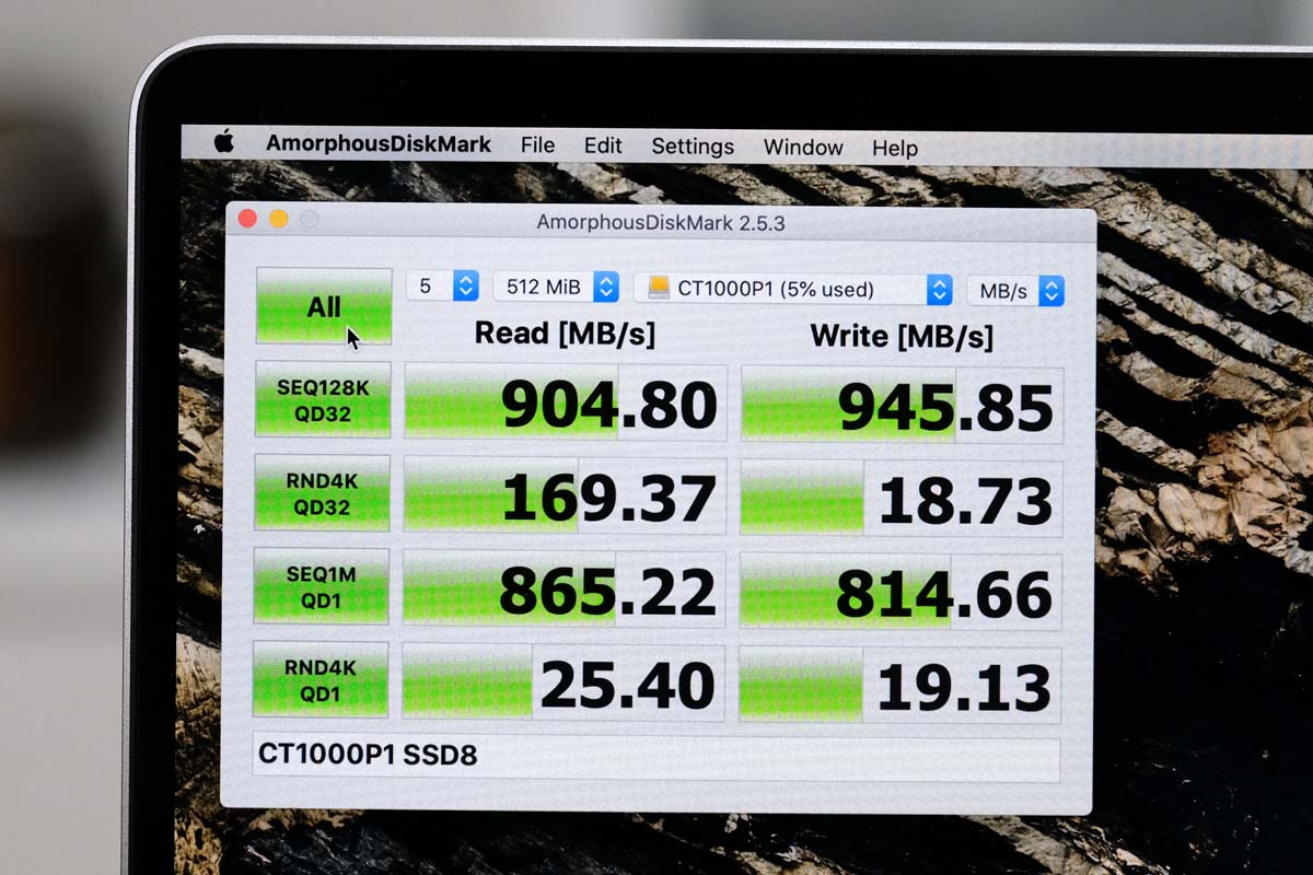 Cruciai M.2 MVNe SSD + TREBLEETの転送速度