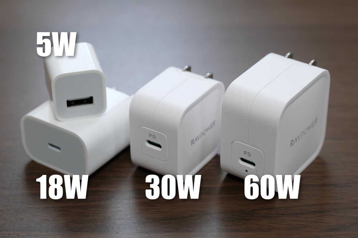高出力タイプの充電器もコンパクト