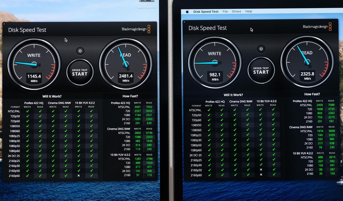 MacBook Pro 15インチ・13インチ SSD転送速度比較